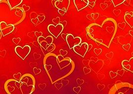 A lot of golden hearts on the red background clipart