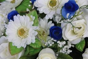 wedding bouquet with blue flowers close-up