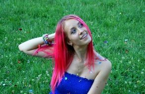 girl with pink hair in a blue dress