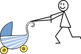 schematic illustration of a mother with a stroller