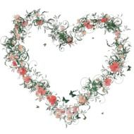 heart-shaped flowers wreath