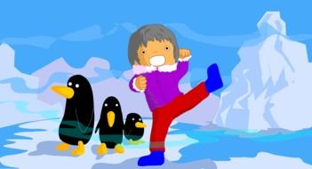 drawing of a baby in the arctic with penguins