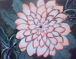 painting dahlia pink drawing