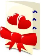 drawn card with red bow and hearts