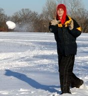snowball game in the cold