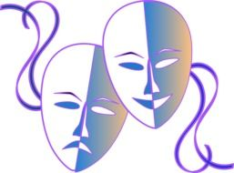 two drawn theatrical masks
