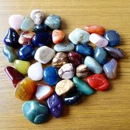 multicolored pebble heart