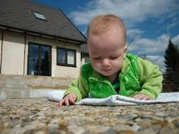 baby on the stone path