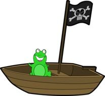 green frog on a wooden boat