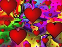 drawn red hearts on the abstract background