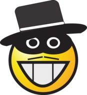 smiley in black mask and hat