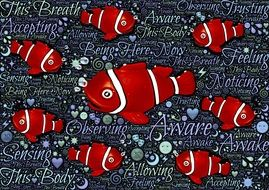 Fishes and meditation clipart