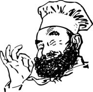 black and white drawing of a cook