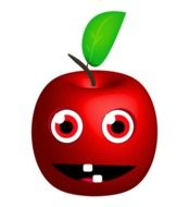 red apple smiling drawing
