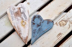 wooden hearts on a bench