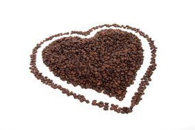 brown heart made from coffee beans