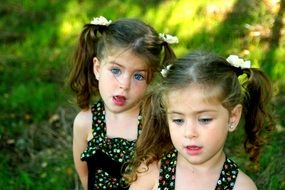 funny twin sisters outdoor