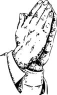 praying hands black-white drawing