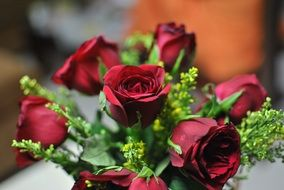 bouquet with burgundy roses