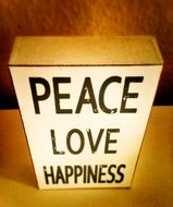 box peace love happiness
