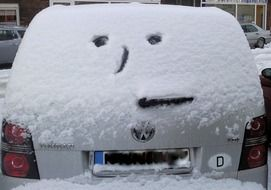 winter car snow smiley