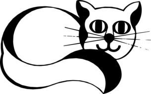graphic image of a black and white cat