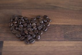 Heart formed coffee beans