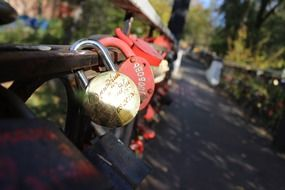 Locks on a wooden bridge