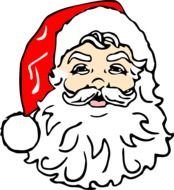 face of santa claus with a red cap on his head
