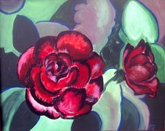 Red roses on the painting