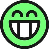 green smile with big teeth as a graphic image