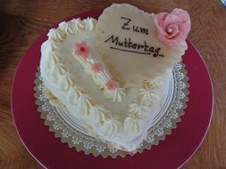 mother's day cake with marzipan rose