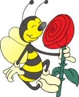 Bee with the colorful flower clipart
