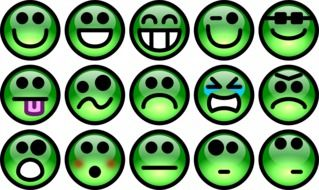 collage of green emoticons