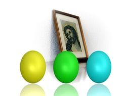 portrait of a Jesus and Easter eggs
