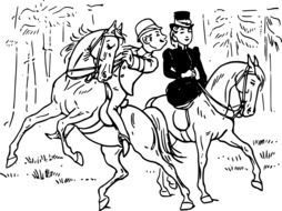 drawing of a couple in love on horseback
