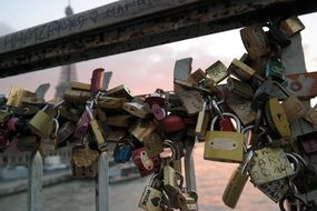 romantic love locks in paris