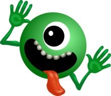 monster green smiley cartoon drawing