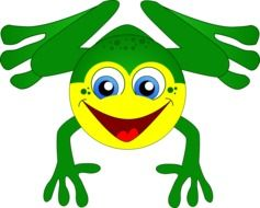 painted green frog with a yellow face