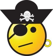 Yellow pirate emoticon with the black hat and black eye patch