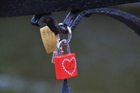 Red padlock with the heart on it