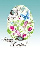 greeting card with painted easter egg