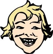 portrait of a laughing blond boy drawing