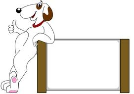 cartoon dog next to the white banner
