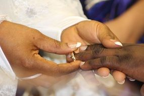 dark skin couple hands with wedding ring