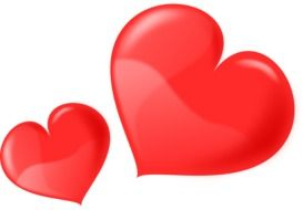 two red hearts of different sizes on a white background