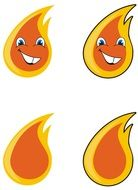cartoon orange flame smiles