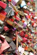 Side view of many different locks of love