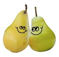 drawings of faces on pears