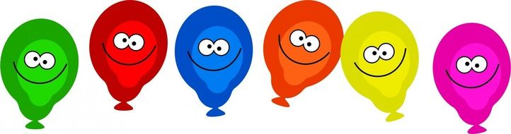 funny emoticons on colorful balloons as a graphic image